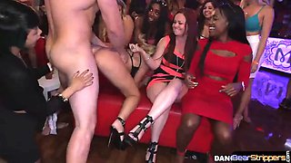 Babe riding cock during stripper party