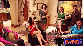 glamorous swingers are relaxing a bit before the steamy orgy