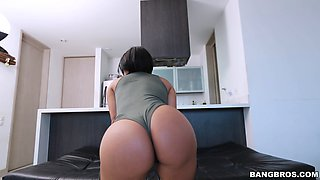 Young tight ass dark haired girl gets cum all over her glasses