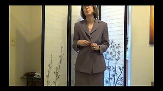 Mature milf forced to strip all at the office part one